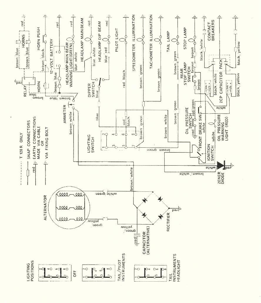 Triumph 650 Wiring Diagram Schematics Diagrams Motor Wire 98l105 Terry Macdonald Rh Triumphbonneville120 Co Uk 1971 1968